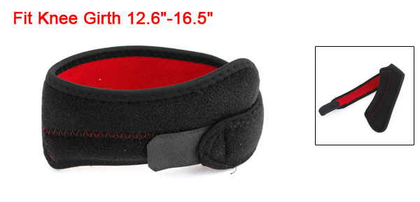 Sports Training Black Red Hook Loop Fastener Neoprene Knee Support Brace