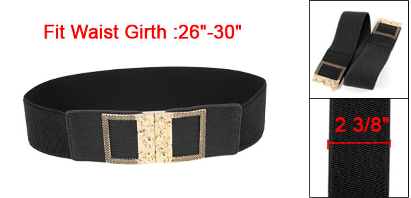 Gold Tone Skull Carved Interlocking Buckle 6cm Width Elastic Cinch Waist Belt Black