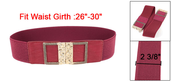 Gold Tone Skull Carved Interlocking Buckle 6cm Width Elastic Cinch Waist Belt Red