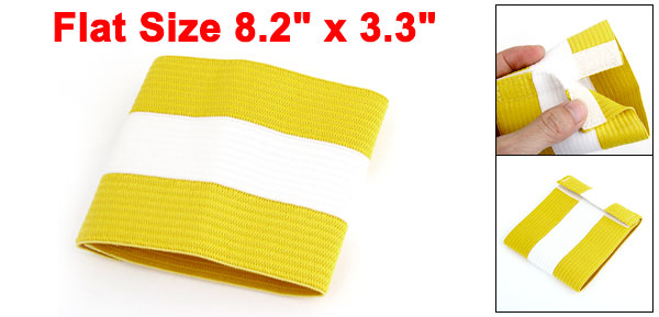 White Yellow Detachable Closure Stretch Team Football Captain Armband