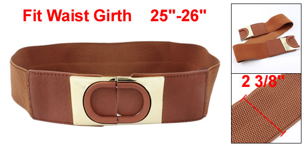Women Brown Sequin Detailing Interlock Buckle Elastic Band Waist Cinch Belt