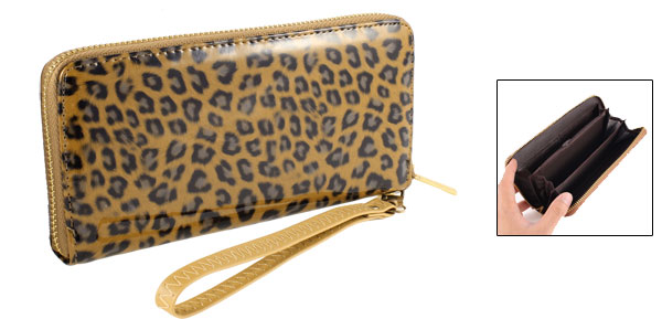 Lady Brown Faux Leather Leopard Print Metallic Chain Dangle Zip up Wallet Purse