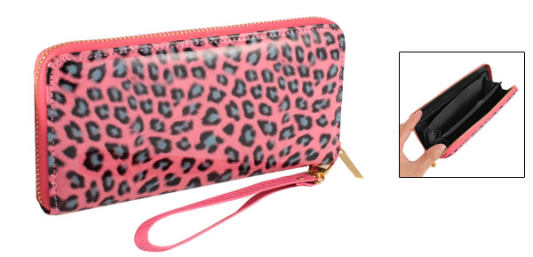 Lady Hot Pink Faux Leather Leopard Print Metallic Chain Dangle Zip up Wallet Purse