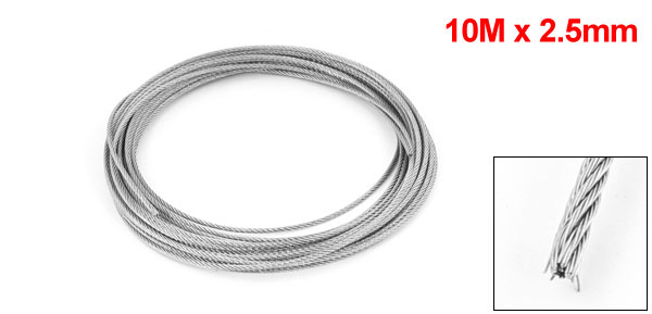 2.5mm Dia 7x7 10M Long Flexible Stainless Steel Wire Cable for Grinder