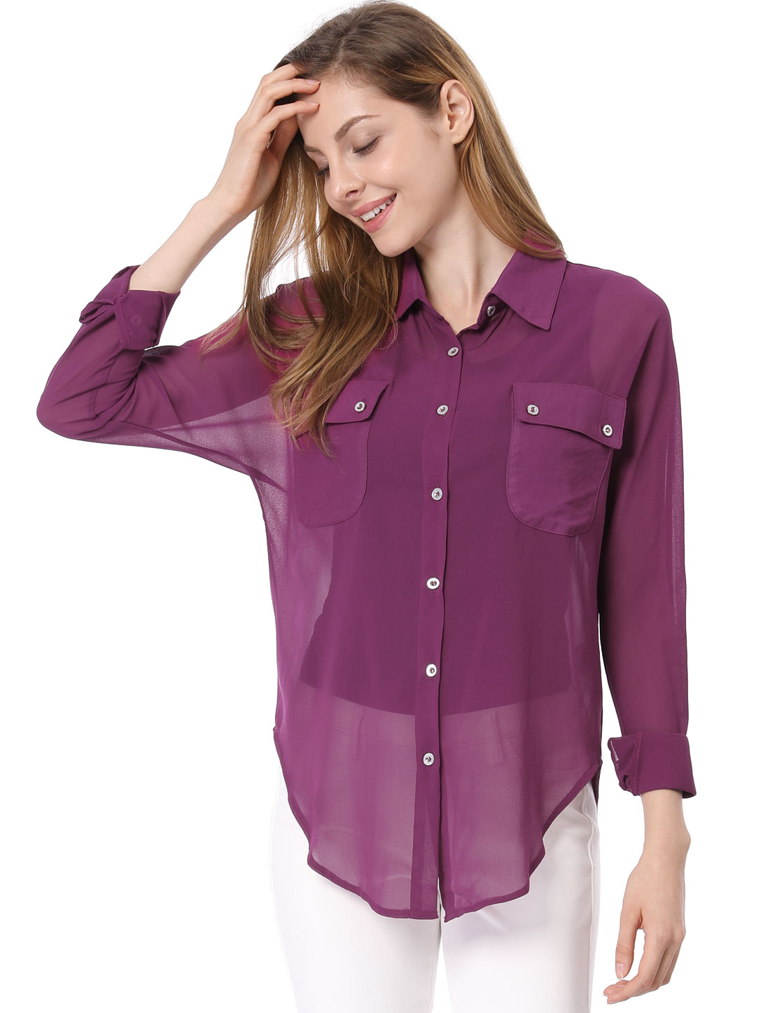 Ladies Point Collar Long Dolman Sleeve Button-Down Loose...