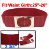 Girls Red Sequin Detailing O Shaped Interlock Buckle Elastic Band Cinch Belt