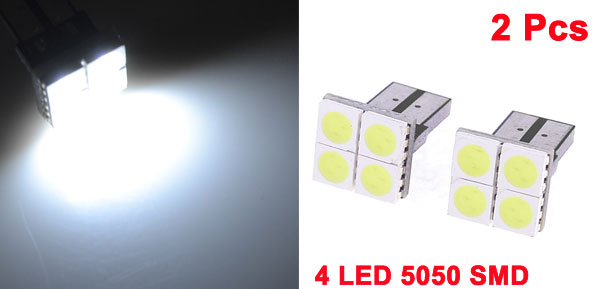 2PCS T10 4 LED 5050 SMD Canbus Error Free LED Light Lamp Panel Car Bulbs White