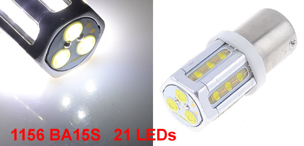 1156 BA15S White 21 COB LED Turn Tail Brake Reverse Light Lamp Bulb for Car