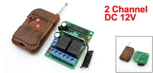 DC 12V 2 CH Interlock Wireless RF Remote Control Switch Module Dark Brown
