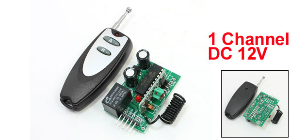 DC 12V 1 Channel Remote Control RF Receiver Switch Module Set Black