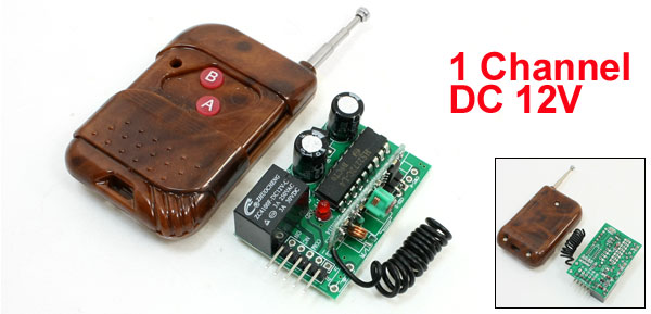 DC 12V 1 CH Remote Control Transmitter Switch Module Set Dark Brown