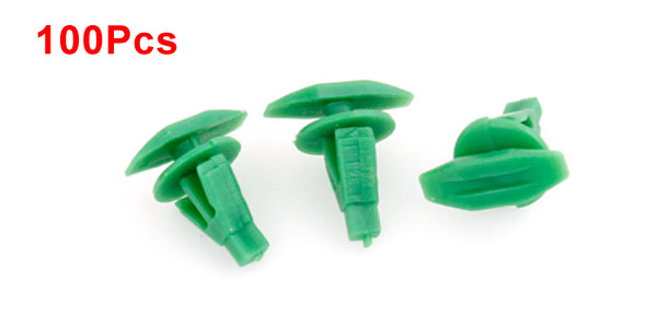 Auto Car Green 6mm Hole Door Fender Plastic Rivets Screw Fasteners x 100