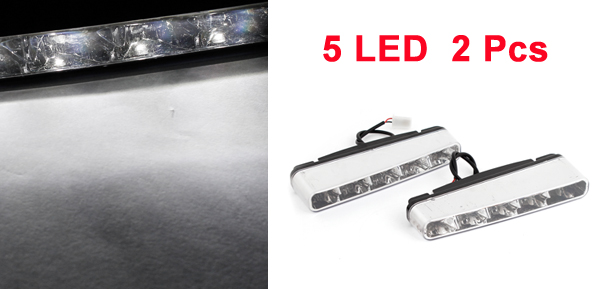 Pair Car 5 White LEDs DRL Daytime Running Light Fog Lamp Day Driving Daylight