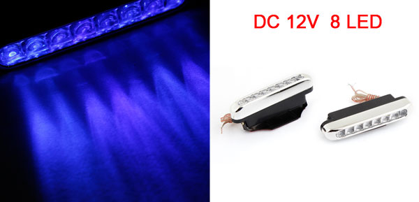 Pair Car Auto DC 12V Blue 8 LED Daytime Running Light Lamp
