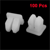 50 Pairs Car White Square Head Plastic Rivets Fastener Fender Bumper Clips White