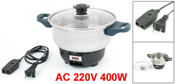 15.5cm Dia Full Glass Lid Stainless Steel Electric Pan AC 220V 400W