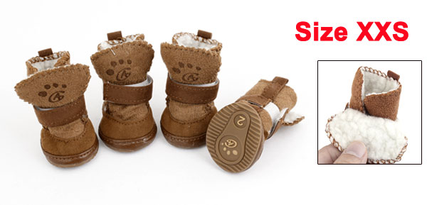 Winter Snow Warm Walking Detachable Closure Puppy Dog Shoes Booties Boots Brown 2 Pairs XXS