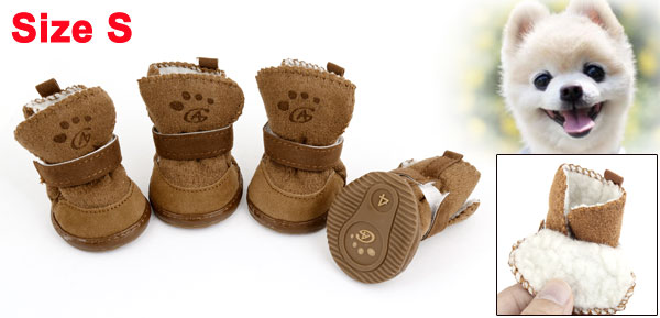 Brown Hook Loop Closure Booties Pet Dog Chihuahua Shoes Boots 2 Pair S