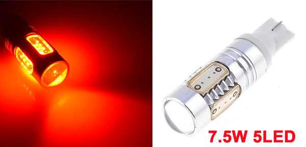 Auto Red T10 194 W5W 5 SMD LED Tail Backup Light Reverse Lamp 7.5W DC 12V