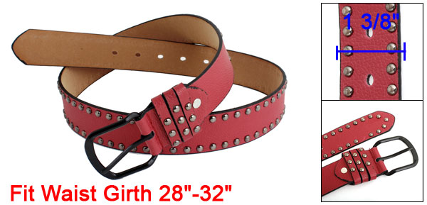 Women Single Pin Buckle Punk Rivets Detail Perforated Faux Leather Belt Red Gray