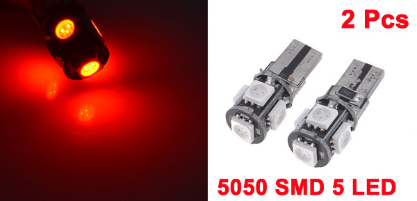 2 Pcs Car T10 W5W 194 5 SMD 5050 LED Canbus No Error Light Bulb Lamp Red