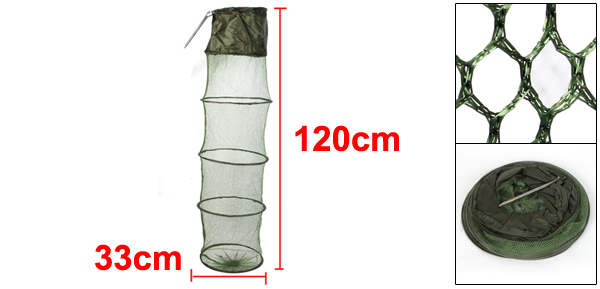 Green Collapsible 6 Layer Fish Lobster Crab Fishing Trap Keep Net