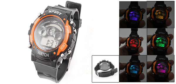 Men Orange Black Round Case LCD Display Alarm Stopwatch Sport Wrist Watch