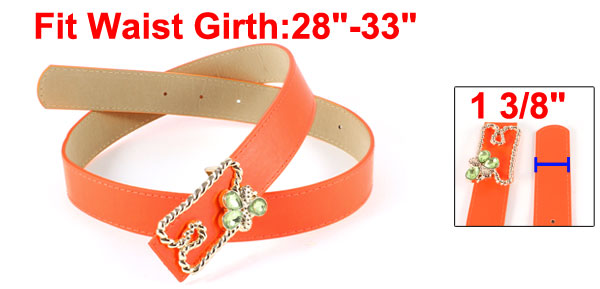 Faux Leather Metal Gold Tone Press Buckle Adjustable Belt Waistband Orange