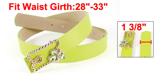 Faux Leather Metal Gold Tone Press Buckle Adjustable Belt Waistband Lime