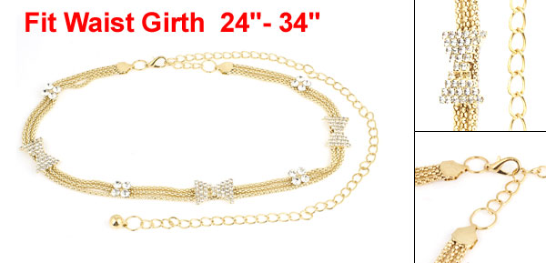 Lady Gold Tone Faux Rhinestone Detailing Adjustable Waist Chain Belt