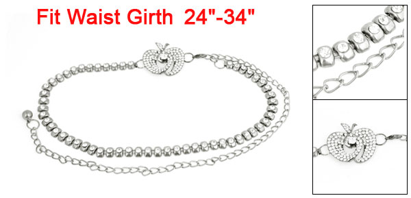 Ladies Silver Gray Bling Plastic Rhinestone Apple Decor Waist Chain Belt