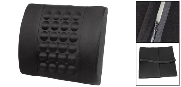 Car Zippered Back Waist Support Black Pillow Massage Cushion