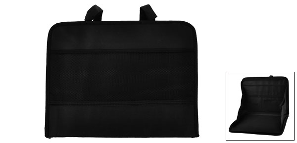 Black Nylon Multi Pocket Laptop Holder Bag Hanging Case for Vehicle Car