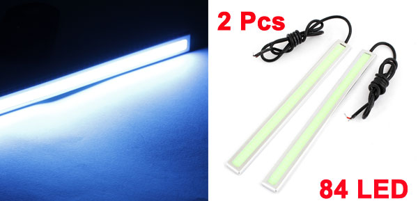 Car Adhesive Silver Tone Frame Ice Blue COB LED Daytime Running Light 17cm x 2