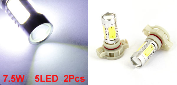 Auto Car Projector Lens 5 SMD LEDs 7.5W White H16 Fog Light Bulb Lamp x 2