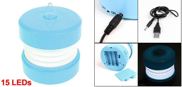 Outdoor Hiking USB 3 AA Powered 15 LEDs White Light Lamp Light Blue