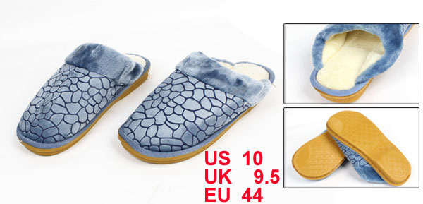 Pair Mens Blue Block Stone Pattern Casual Indoor Warm Slipper US 10