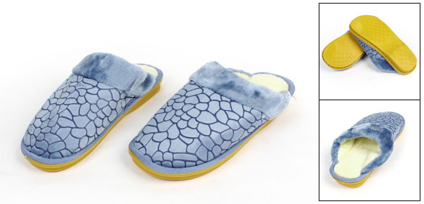 Pair Mens Blue Block Stone Pattern Casual Indoor Warm Slipper Pale Yellow EU 45