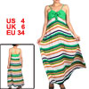 Woman V Neck Colorful Stripes Pattern Full Length Slip Dress S