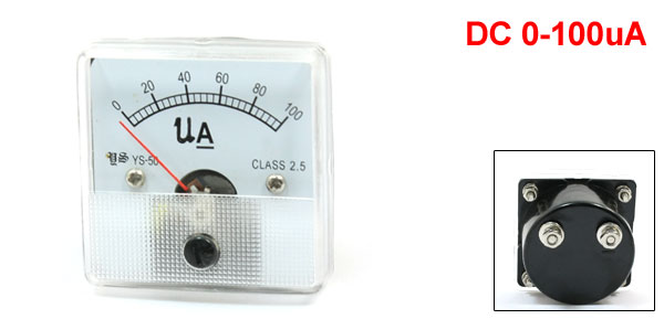 5cm x 5cm Panel DC 100uA Current AMP Analog Meter Ammeter YS-50