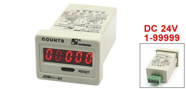 JDM11-5H DC 24V 5 Digits No-Voltage Input LED Display Accumulating Counter