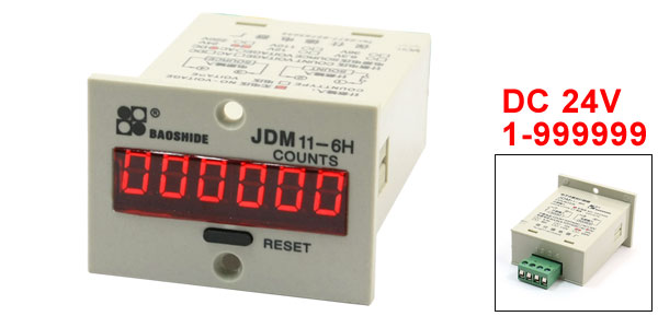 24VDC 1-999999 LED Panel Press Reset Digital Accumulating Counter JDM11-6H