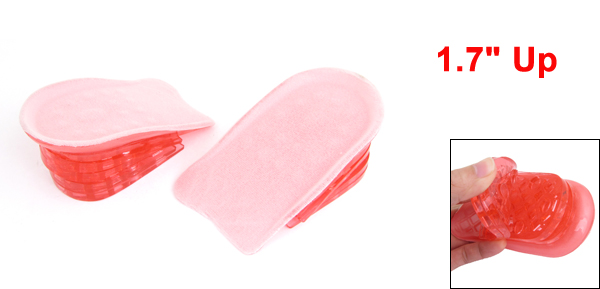 Pair Pink Clear Silicone Gel Taller Heel Insert Insoles Pads 1.7