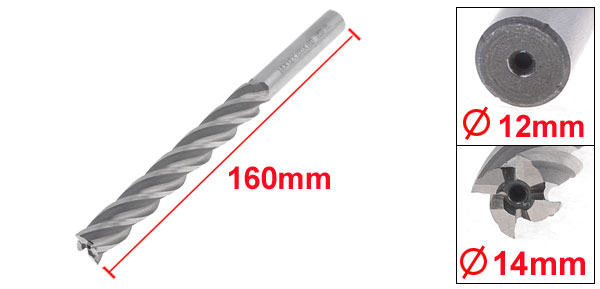 Silver Tone HSS Helical Groove 4 Flute 14mm Cutting Dia End Mill