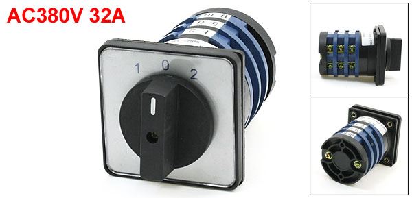 AC380V 32A 1-0-2 Three Position Rotary Cam Universal Changeover Switch
