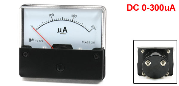 YS-670 DC 0-300uA Rectangle Shape Analog Panel Meter Ammeter Gauge
