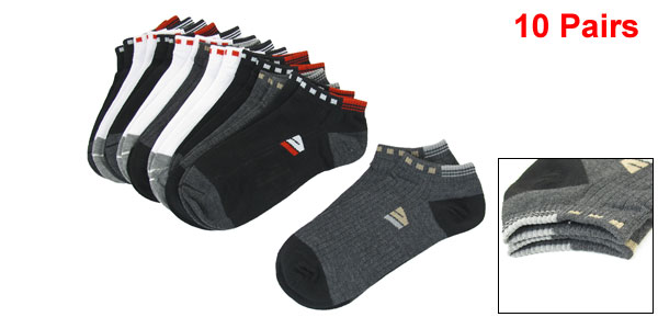 10 Pairs Man Assorted Colors Letter Pattern Low Cut Ankle Sports Socks