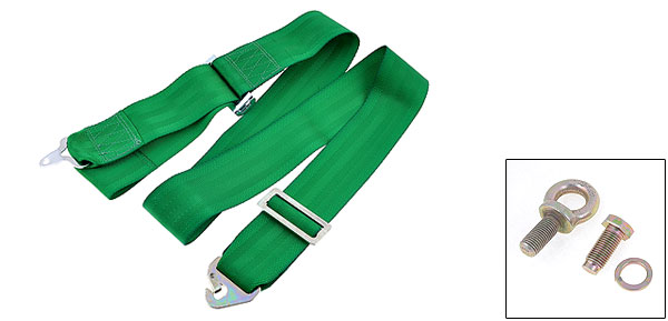 Green Nylon Adjustable Four Point Auto Car Safety Seat Belt Lap Seatbelt