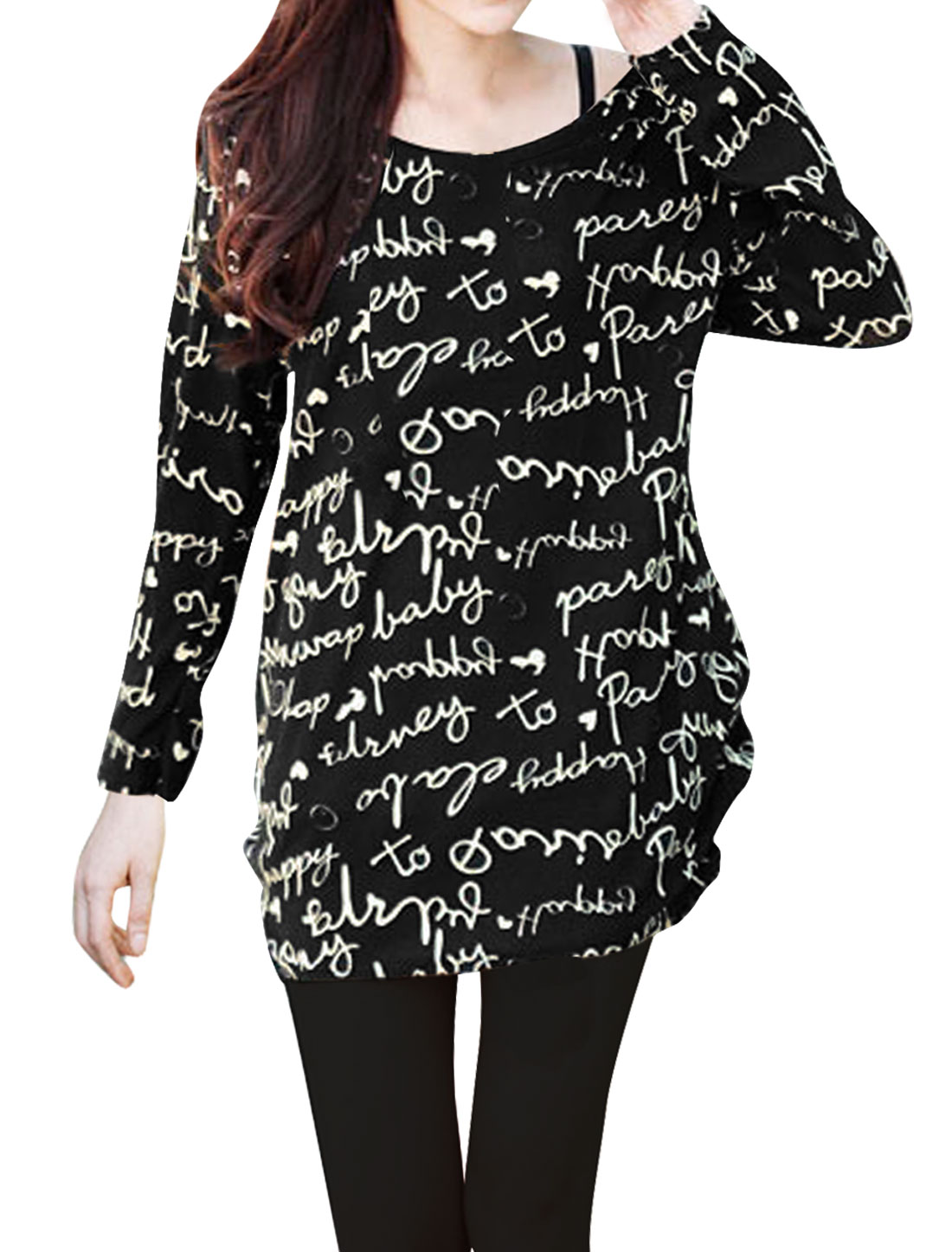 Lady Round Neck Long Sleeve Letter Pattern Pullover Knit...