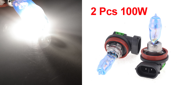 2 Pcs 100W H11 Halogen White Bulb Headlight Foglight Driving Bulb Lamp w Case